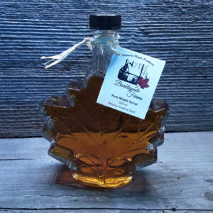 250 ml glass maple leaf bottle of 100% pure Canadian maple syrup
